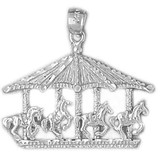 Carousel Horses Charm Bracelet or Pendant Necklace in Yellow, White or Rose Gold DZ-5979 by Dazzlers