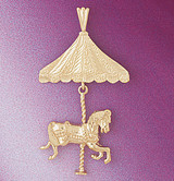 Carousel Horses Pendant Necklace Charm Bracelet in Gold or Silver 5984