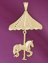 Carousel Horses Pendant Necklace Charm Bracelet in Gold or Silver 5985