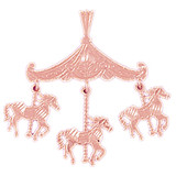 Carousel Horses Pendant Necklace Charm Bracelet in Gold or Silver 5986