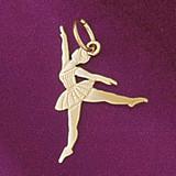Ballerina Dancer Pendant Necklace Charm Bracelet in Gold or Silver 6138