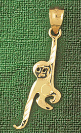 Monkey Charm Bracelet or Pendant Necklace in Yellow, White or Rose Gold DZ-2691 by Dazzlers