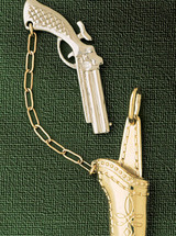 Cowboy Gun  Pendant Necklace Charm Bracelet in Gold or Silver 2285