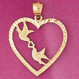 Love Birds Heart Pendant Necklace Charm Bracelet in Gold or Silver 3864