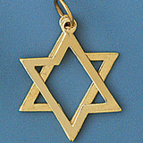 Star of David 2 PC Moveable Pendant Necklace Charm Bracelet in Gold or Silver 9208