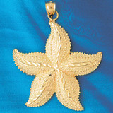 Starfish Charm Bracelet or Pendant Necklace in Yellow, White or Rose Gold DZ-83 by Dazzlers