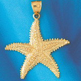 Starfish Charm Bracelet or Pendant Necklace in Yellow, White or Rose Gold DZ-89 by Dazzlers