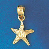 Starfish Charm Bracelet or Pendant Necklace in Yellow, White or Rose Gold DZ-91 by Dazzlers
