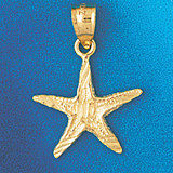 Starfish Charm Bracelet or Pendant Necklace in Yellow, White or Rose Gold DZ-92 by Dazzlers