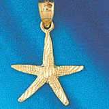 Starfish Charm Bracelet or Pendant Necklace in Yellow, White or Rose Gold DZ-93 by Dazzlers