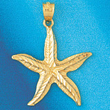 Starfish Charm Bracelet or Pendant Necklace in Yellow, White or Rose Gold DZ-95 by Dazzlers