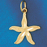 Starfish Charm Bracelet or Pendant Necklace in Yellow, White or Rose Gold DZ-96 by Dazzlers
