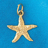 Starfish Charm Bracelet or Pendant Necklace in Yellow, White or Rose Gold DZ-97 by Dazzlers