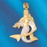 Mermaid Two Tone White Pendant Necklace Charm Bracelet in Gold or Silver 182