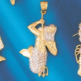 Mermaid Two Tone White Pendant Necklace Charm Bracelet in Gold or Silver 183