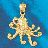 Octopus Pendant Necklace Charm Bracelet in Gold or Silver 347