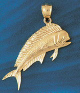 Mahi Mahi Fish Pendant Necklace Charm Bracelet in Gold or Silver 562