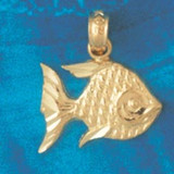 Angelfish Charm Bracelet or Pendant Necklace in Yellow, White or Rose Gold DZ-660 by Dazzlers