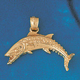 Assorted Fish Sea Bass Snook King Mackerel Charm Bracelet or Pendant Necklace in Yellow, White or Rose Gold DZ-663 by Dazzlers
