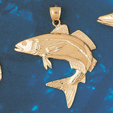 Assorted Fish Sea Bass Snook King Mackerel Charm Bracelet or Pendant Necklace in Yellow, White or Rose Gold DZ-670 by Dazzlers
