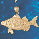 Assorted Fish Sea Bass Snook King Mackerel Charm Bracelet or Pendant Necklace in Yellow, White or Rose Gold DZ-675 by Dazzlers
