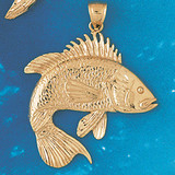 Assorted Fish Sea Bass Snook King Mackerel Charm Bracelet or Pendant Necklace in Yellow, White or Rose Gold DZ-676 by Dazzlers
