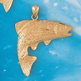 Assorted Fish Sea Bass Snook King Mackerel Charm Bracelet or Pendant Necklace in Yellow, White or Rose Gold DZ-677 by Dazzlers