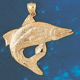 Assorted Fish Sea Bass Snook King Mackerel Charm Bracelet or Pendant Necklace in Yellow, White or Rose Gold DZ-678 by Dazzlers