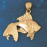 Goldfish Charm Bracelet or Pendant Necklace in Yellow, White or Rose Gold DZ-683 by Dazzlers
