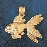 Goldfish Charm Bracelet or Pendant Necklace in Yellow, White or Rose Gold DZ-696 by Dazzlers