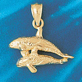 Double Whale Charm Bracelet or Pendant Necklace in Yellow, White or Rose Gold DZ-810 by Dazzlers