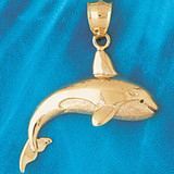 Whale Charm Bracelet or Pendant Necklace in Yellow, White or Rose Gold DZ-817 by Dazzlers