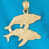 Double Whale Charm Bracelet or Pendant Necklace in Yellow, White or Rose Gold DZ-825 by Dazzlers