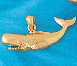Whale Charm Bracelet or Pendant Necklace in Yellow, White or Rose Gold DZ-849 by Dazzlers