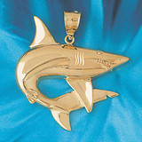 Shark Charm Bracelet or Pendant Necklace in Yellow, White or Rose Gold DZ-895 by Dazzlers