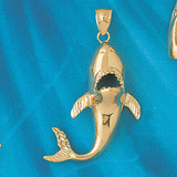 Shark Charm Bracelet or Pendant Necklace in Yellow, White or Rose Gold DZ-904 by Dazzlers