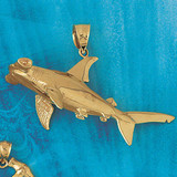 Shark Charm Bracelet or Pendant Necklace in Yellow, White or Rose Gold DZ-908 by Dazzlers