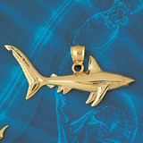 Shark Charm Bracelet or Pendant Necklace in Yellow, White or Rose Gold DZ-913 by Dazzlers