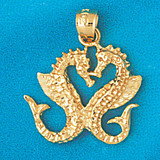 Double Seahorse Dimensional Pendant Necklace Charm Bracelet in Gold or Silver 958