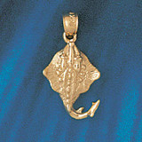 Stingray Fish Charm Bracelet or Pendant Necklace in Yellow, White or Rose Gold DZ-1026 by Dazzlers
