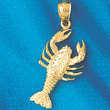 Lobster Charm Bracelet or Pendant Necklace in Yellow, White or Rose Gold DZ-1038 by Dazzlers
