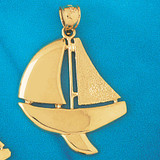 Sailboat Charm Bracelet or Pendant Necklace in Yellow, White or Rose Gold DZ-1239 by Dazzlers