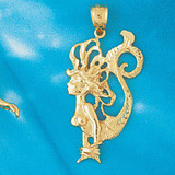 Mermaid Pendant Necklace Charm Bracelet in Gold or Silver 1366