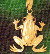 Frog Charm Bracelet or Pendant Necklace in Yellow, White or Rose Gold DZ-1566 by Dazzlers