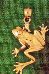 Frog Charm Bracelet or Pendant Necklace in Yellow, White or Rose Gold DZ-1574 by Dazzlers