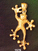 Frog Charm Bracelet or Pendant Necklace in Yellow, White or Rose Gold DZ-1576 by Dazzlers