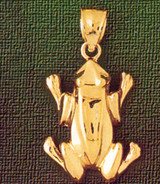 Frog Charm Bracelet or Pendant Necklace in Yellow, White or Rose Gold DZ-1577 by Dazzlers