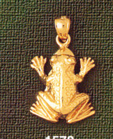 Frog Charm Bracelet or Pendant Necklace in Yellow, White or Rose Gold DZ-1578 by Dazzlers