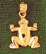 Frog Charm Bracelet or Pendant Necklace in Yellow, White or Rose Gold DZ-1579 by Dazzlers