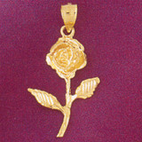 Rose Flower Charm Bracelet or Pendant Necklace in Yellow, White or Rose Gold DZ-6716 by Dazzlers
